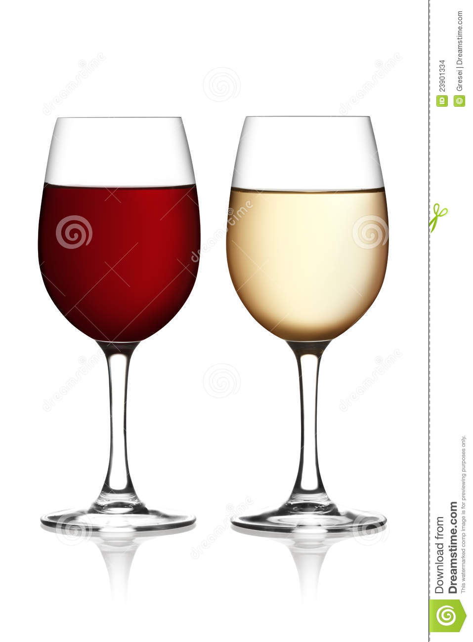 Glass Of Red And White Wine Stock Photo - Image: 23901334