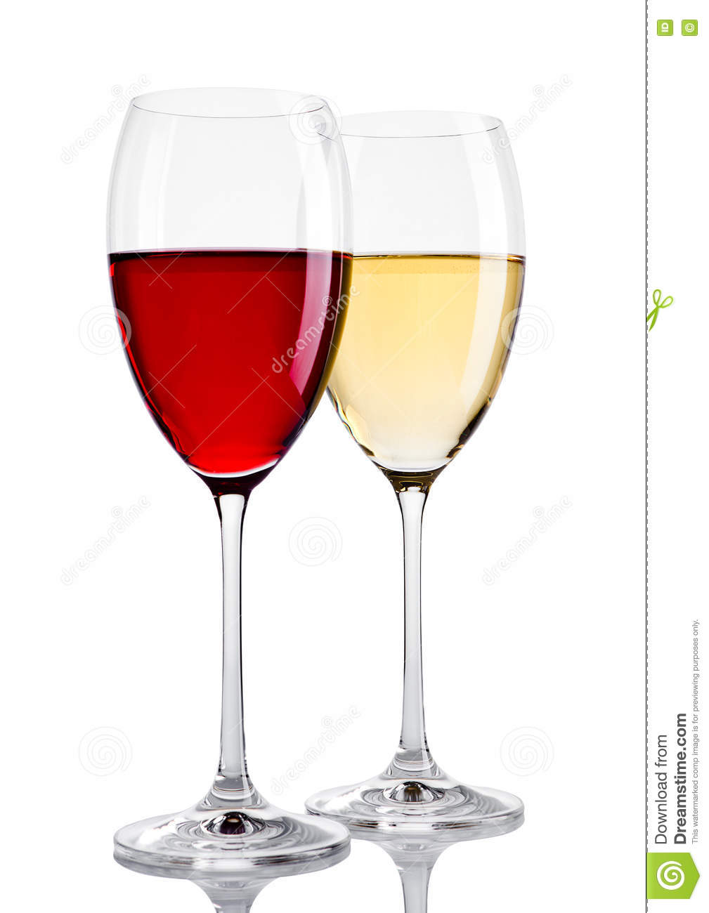 Glass of red and white wine on white