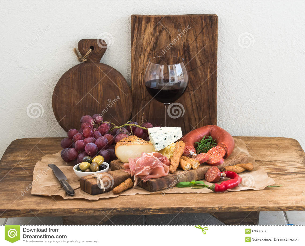 Glass Of Red Wine Cheese And Meat Board Grapesfig Strawberries