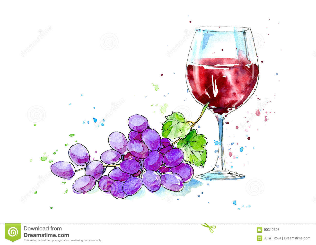 Glass of a red wine and grapes.