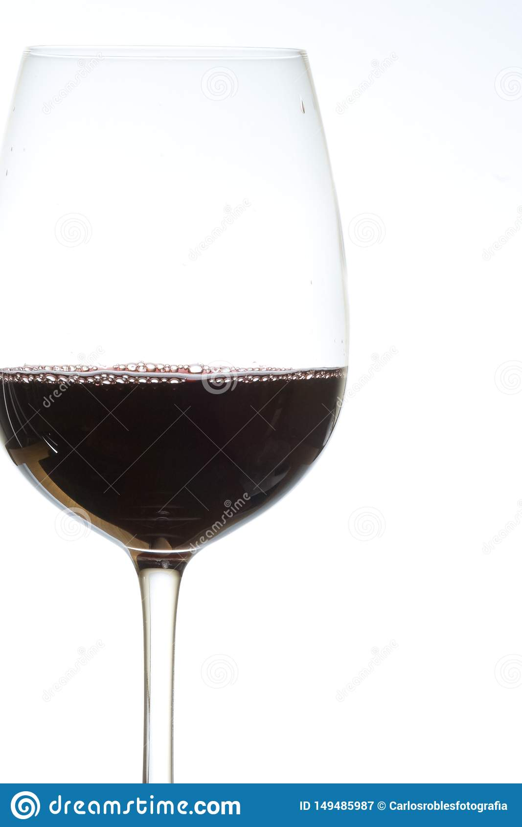 Glass of red wine on