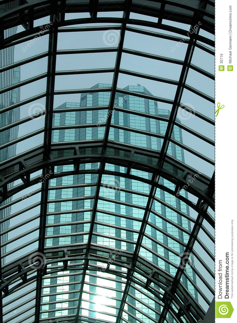 Glass Roofing with skyscraper