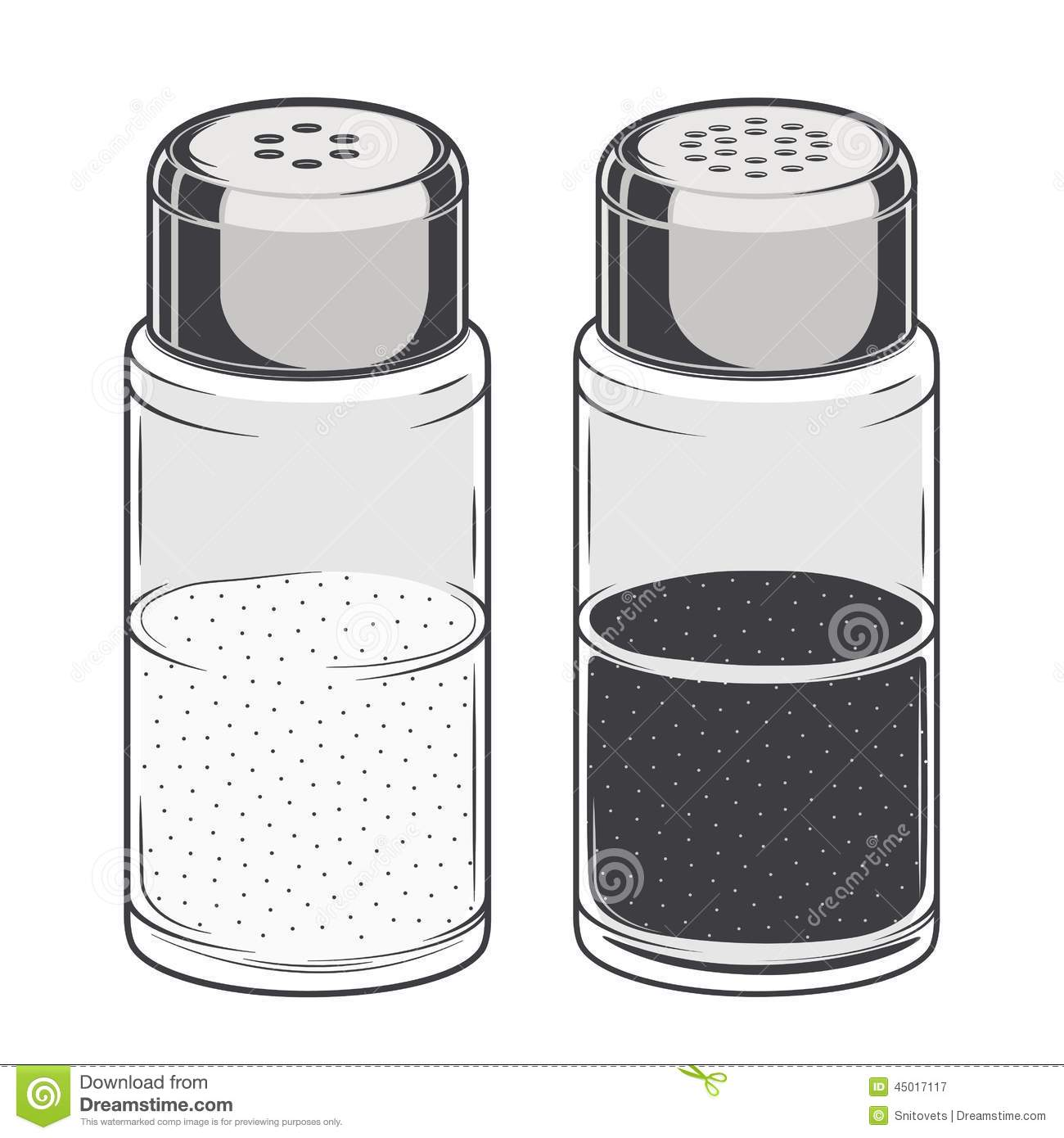 Glass Salt And Pepper Shakers Isolated On A White