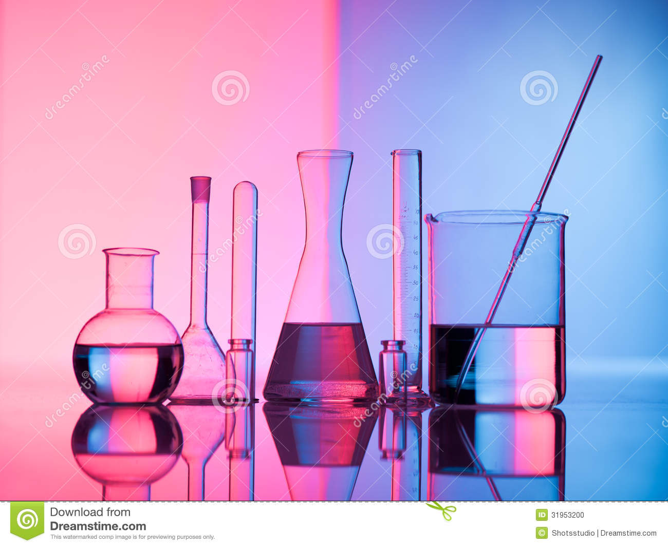 Different Laboratory Glassware With Water And Empty Reflection