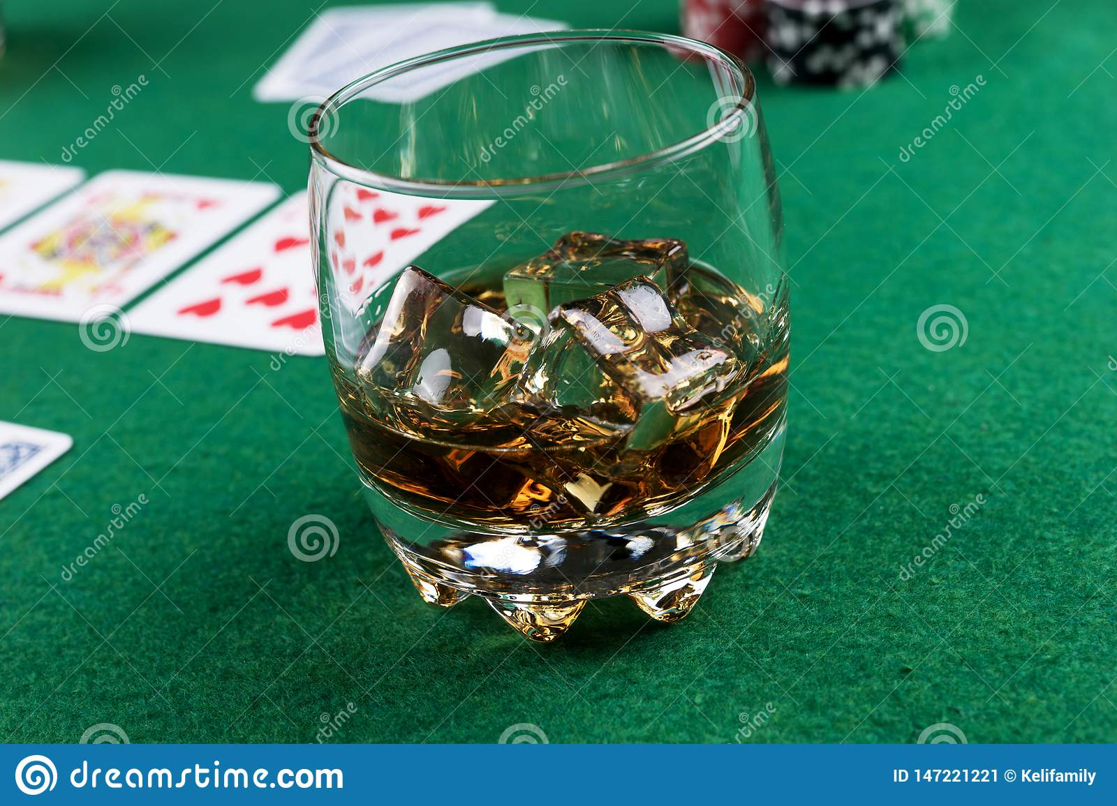 Glass Of Scotch On Ice On The Poker Table Stock Image ...