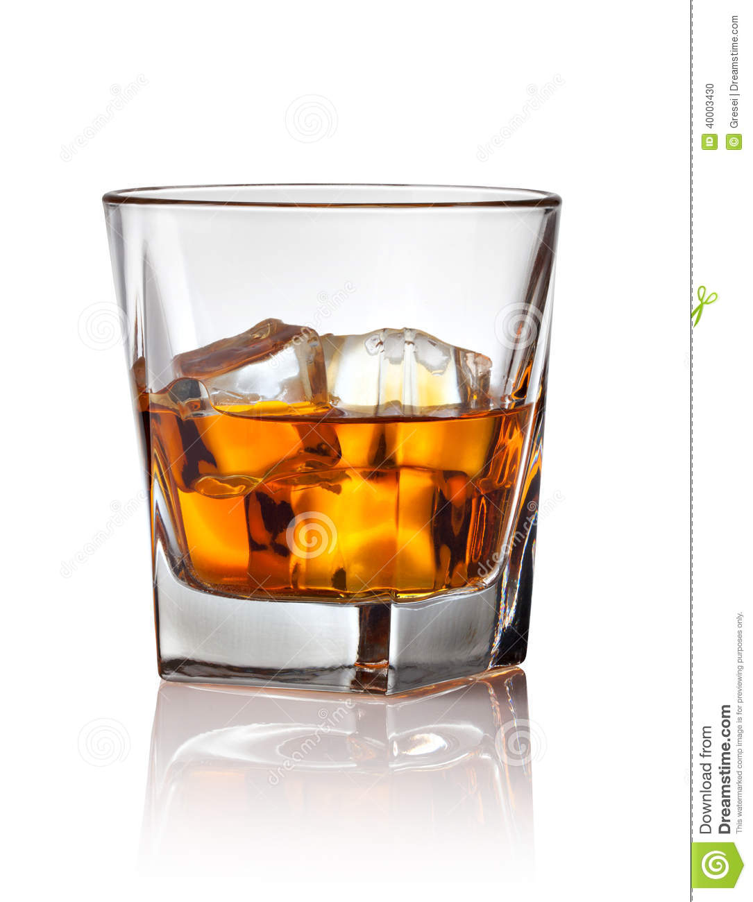 Glass Of Scotch Whiskey And Ice Stock Photo Image