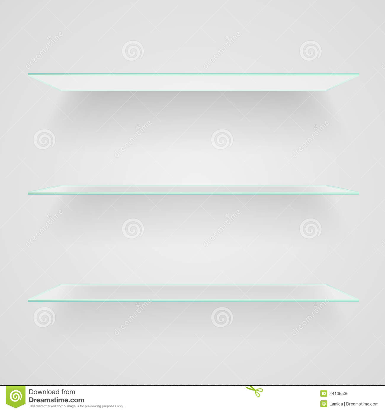 Glass shelves on light grey background vector eps10 illustration