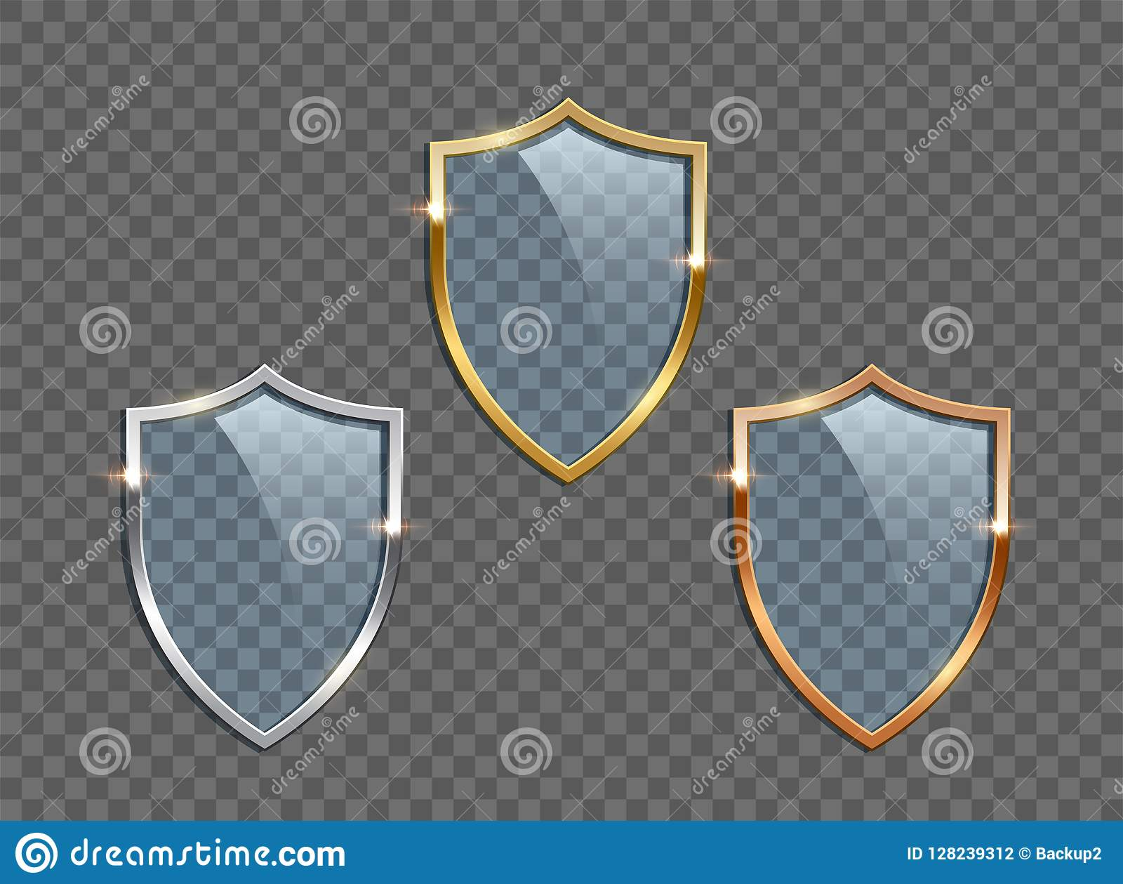 Glass shields with golden, silver and bronze frames isolated on transparent background. Vector design elements.