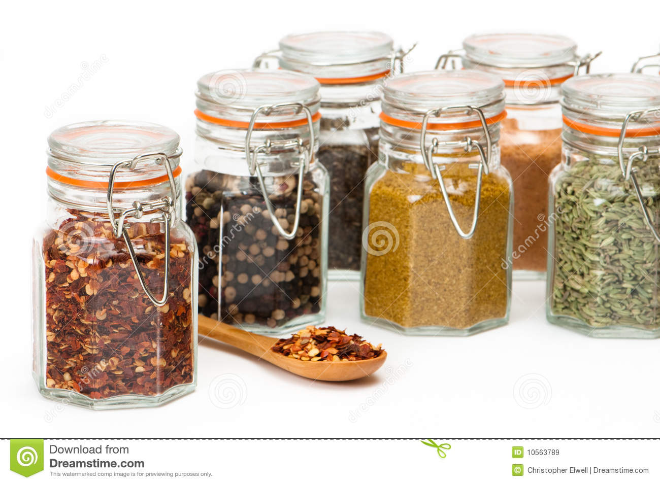 Glass Spice Jars stock image  Image of culinary, cooking