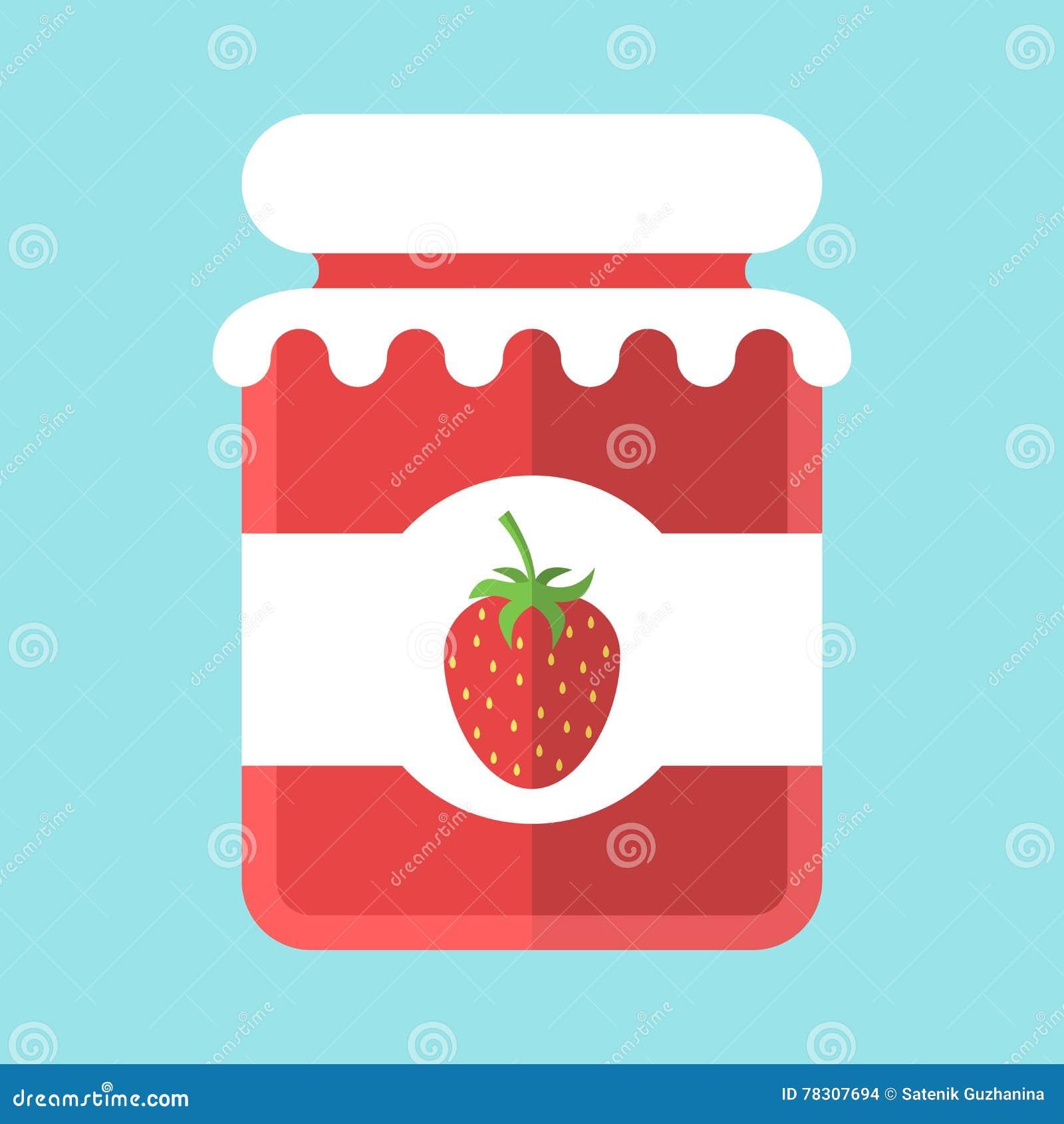 Glass Strawberry Jam Jar Stock Vector Illustration Of Delicious