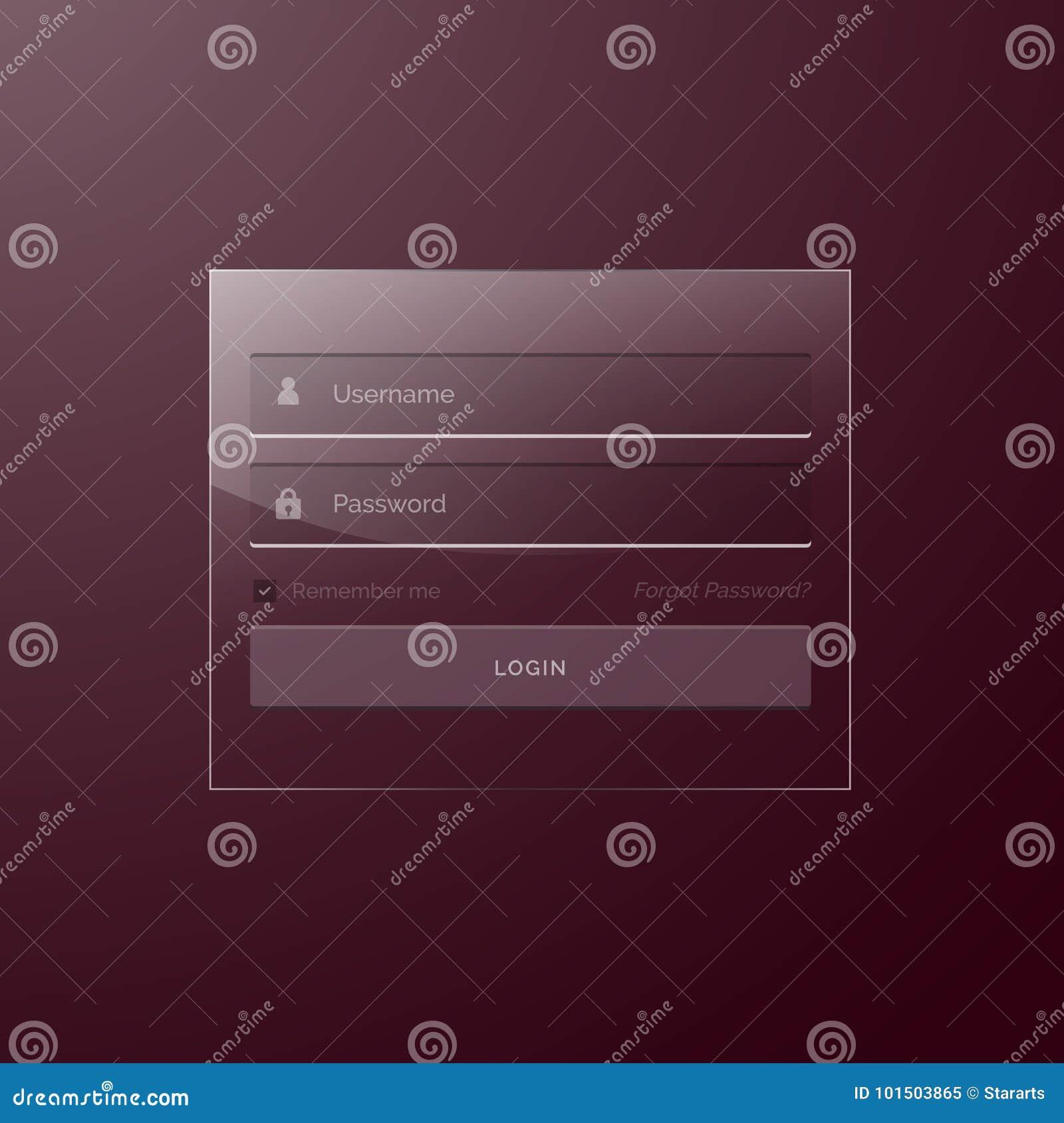 Glass Style Modern Login Template Design Stock Vector Illustration