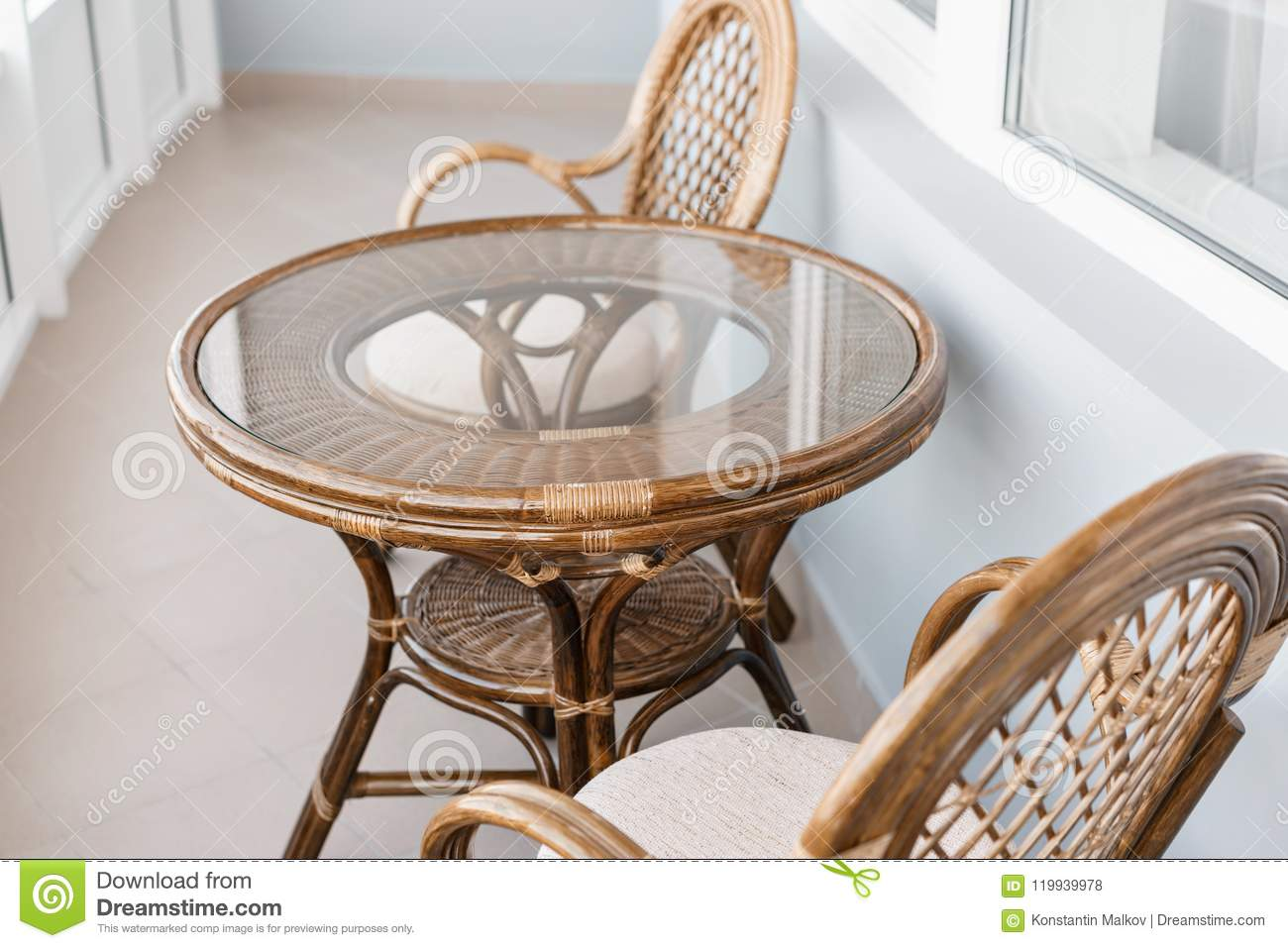 Wondrous Glass Table And Rattan Wicker Seat Chair Wicker Furniture Beutiful Home Inspiration Aditmahrainfo