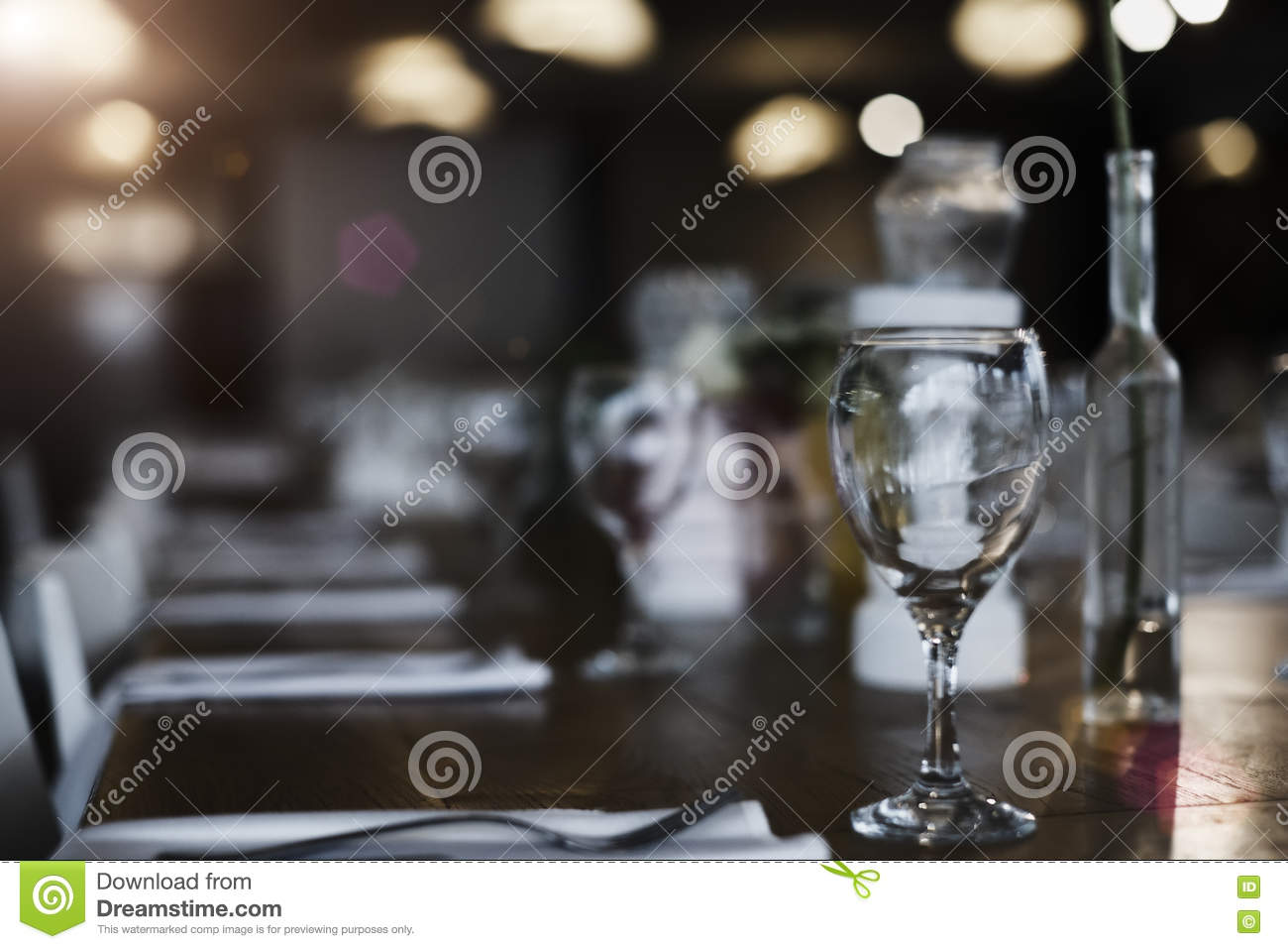 Glass On The Table Table Top Counter Bar Restaurant Background Stock - Restaurant glass table tops