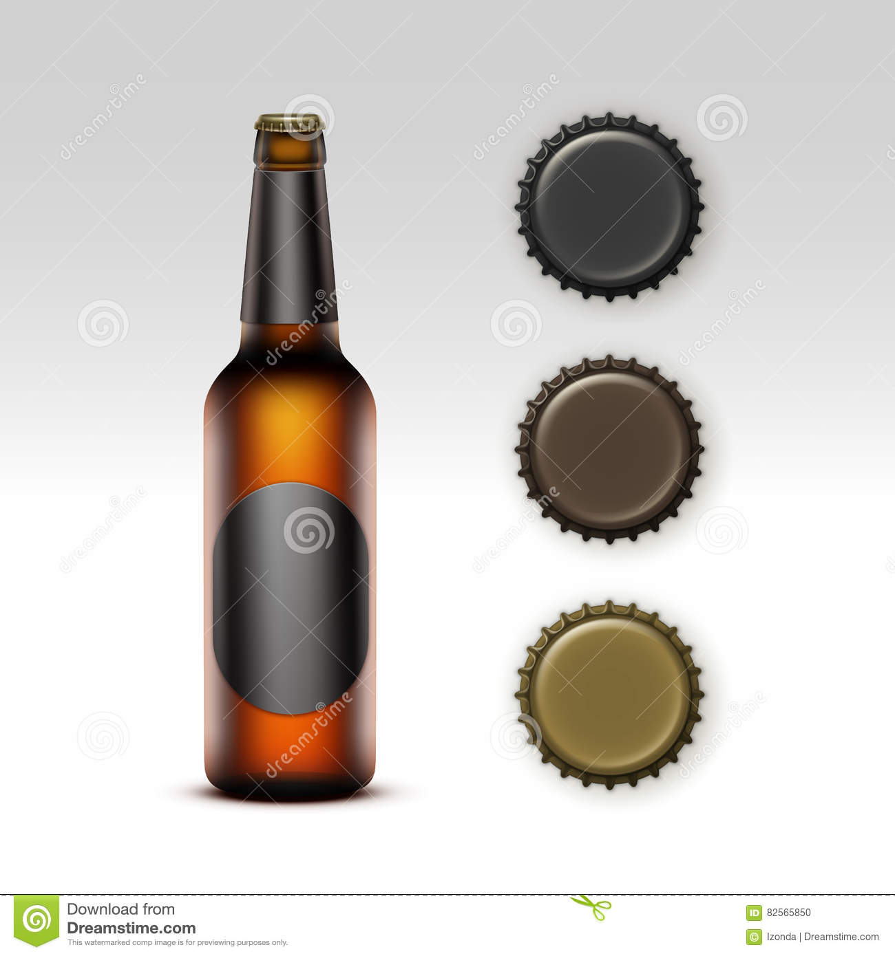 Glass Transparent Bottle of Beer with label, Caps