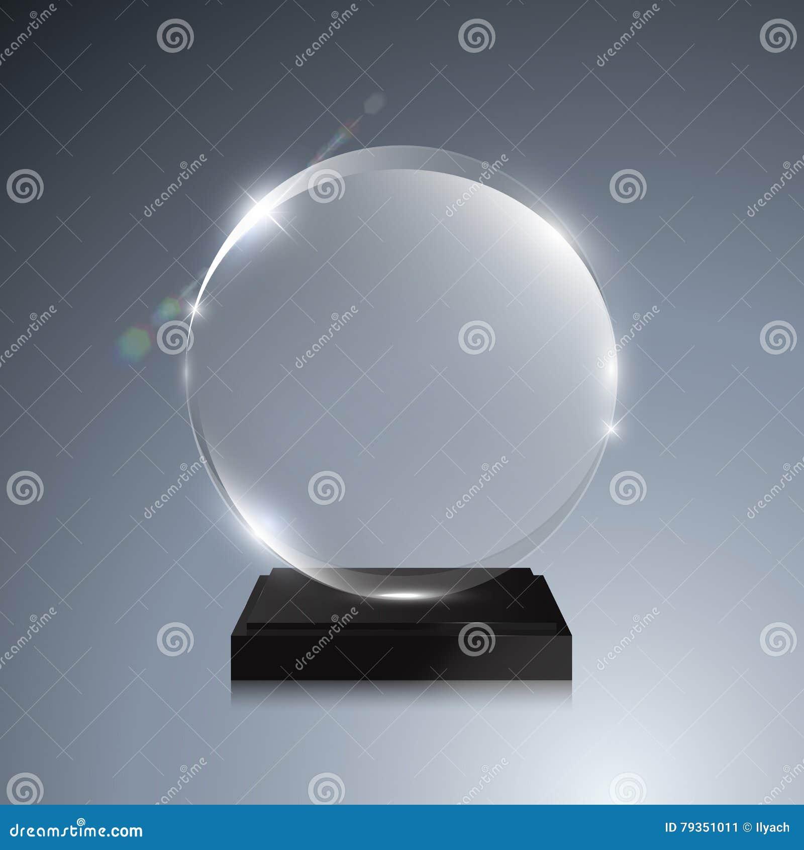 Glass Trophy Award  Vector Crystal 3D Mockup Stock