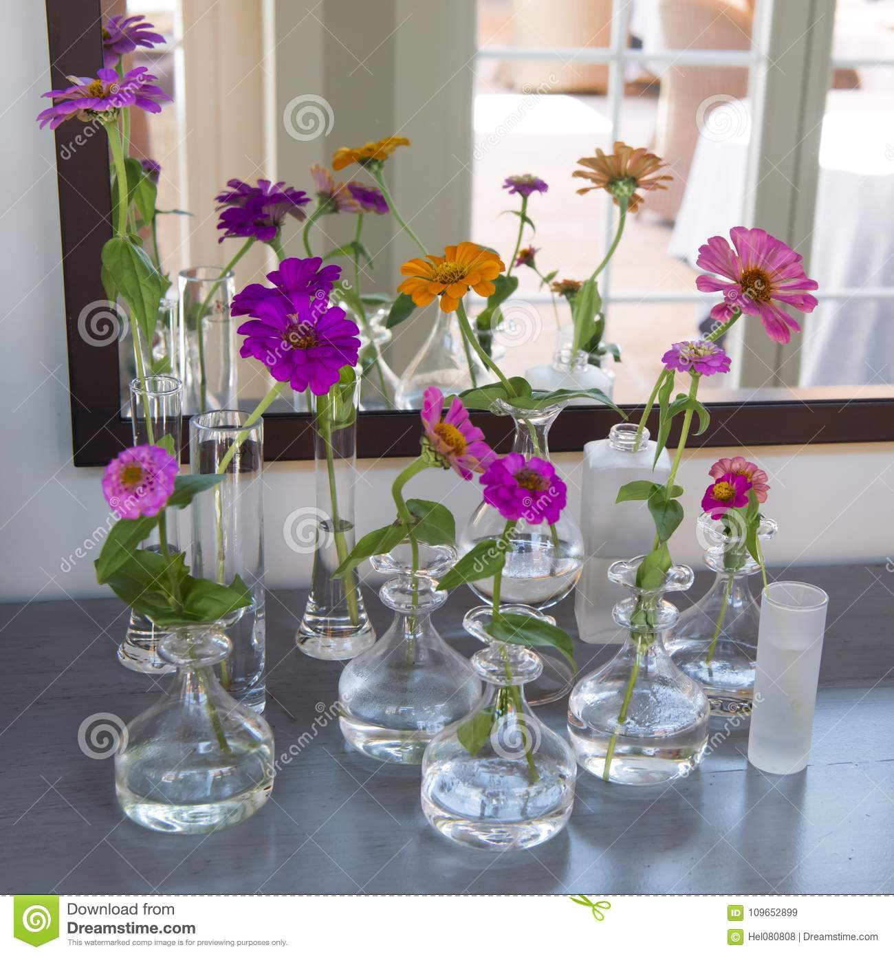 Flower Arrangement Some Colorful Zinia In Small Glass Vases Stock Image Image Of Glass Small 109652899