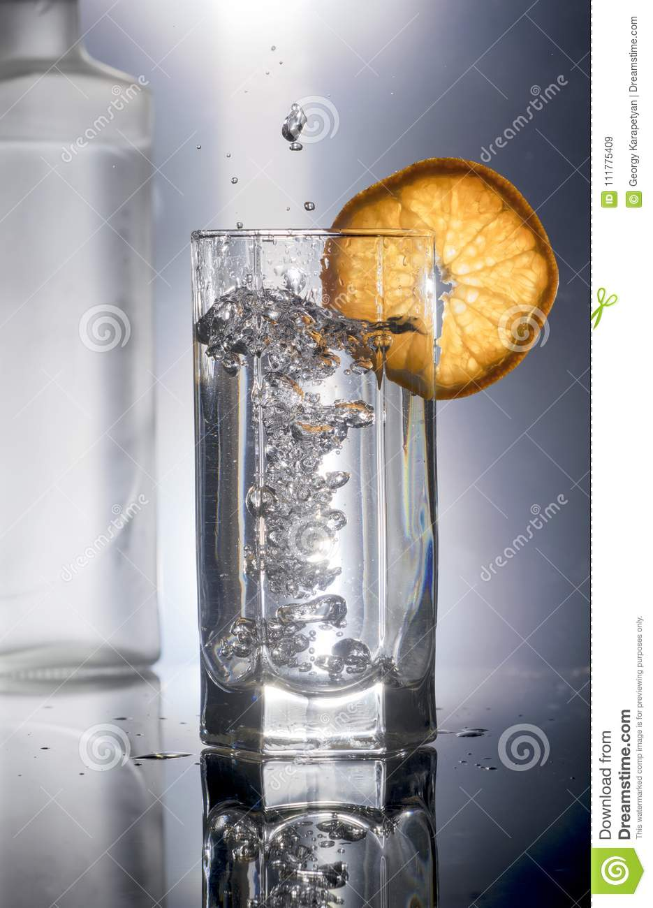 A glass of vodka and a bottle