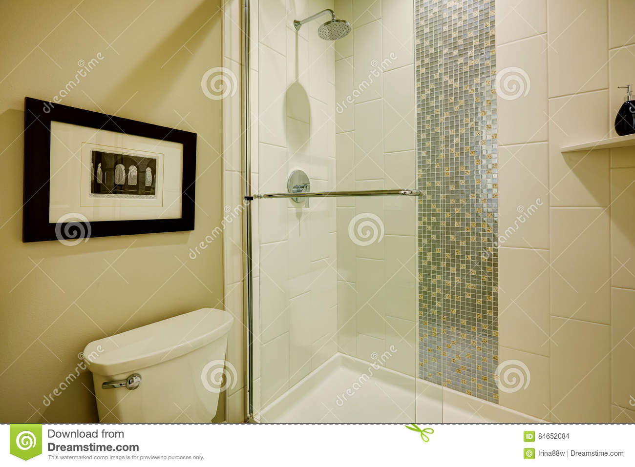 Glass Walk-in Shower In A Bathroom Of Brand-new Home Stock Photo ...