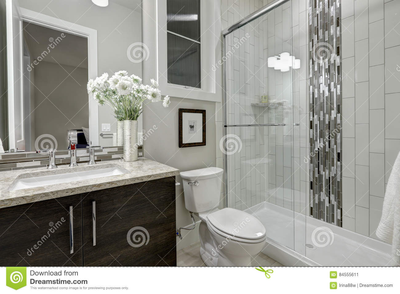 Glass Walk In Shower In A Bathroom Of Luxury Home Stock