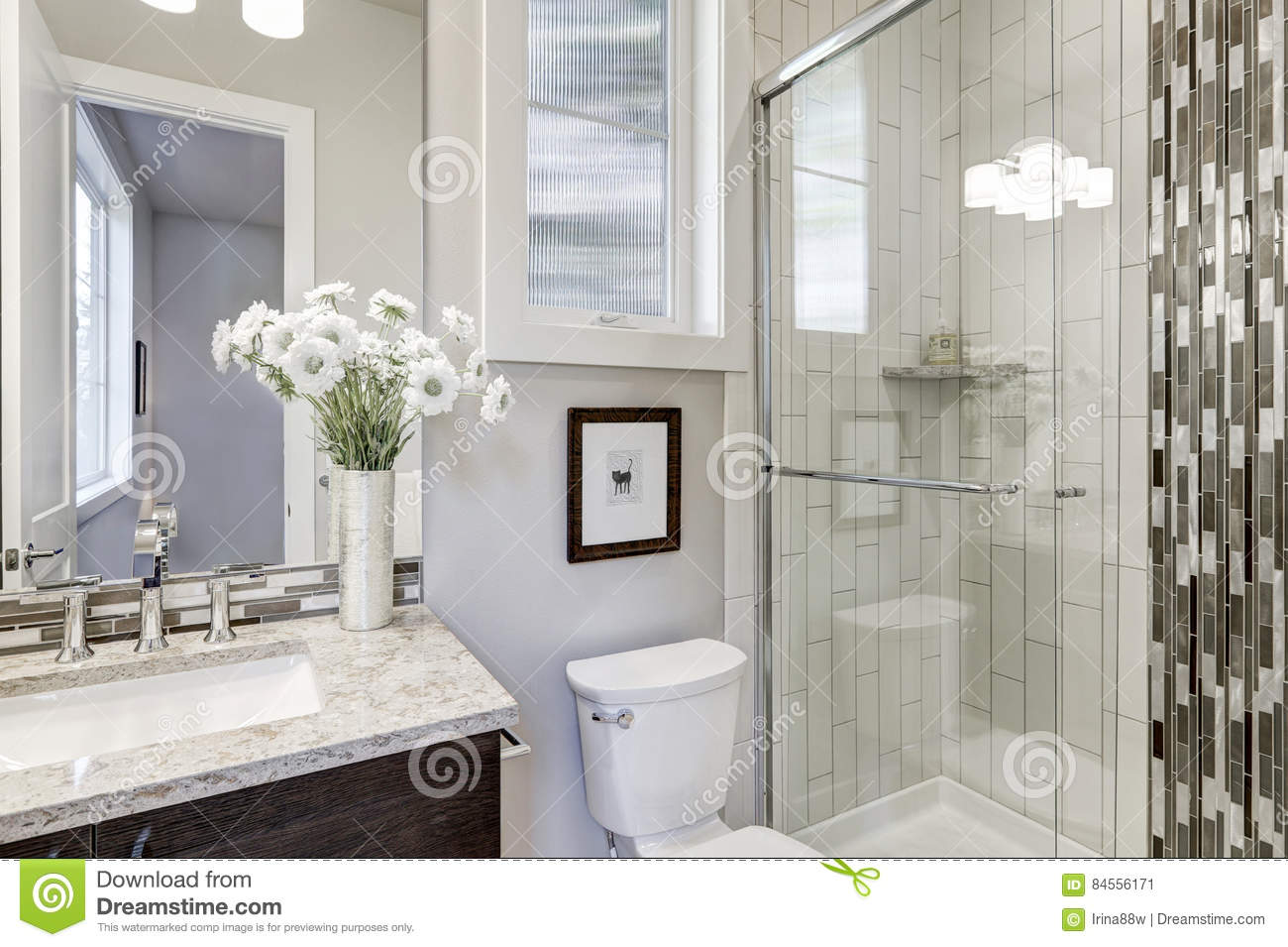 Glass Walk In Shower In A Bathroom Of New Luxury Home Stock