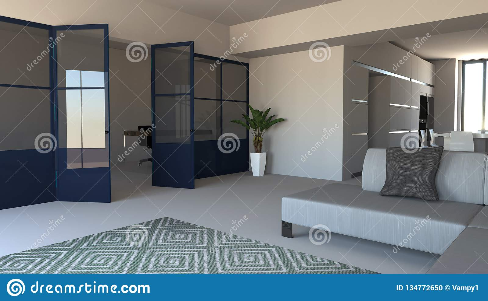Glass Wall in Blue, Iron and Glass, Living Room, Living Space and ...