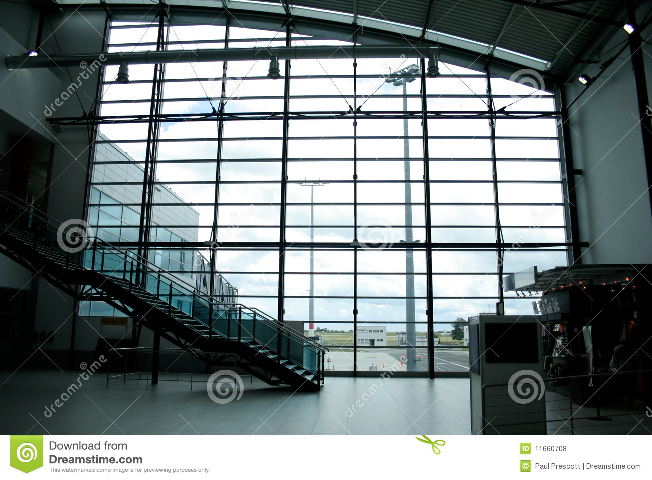 Glass Wall In International Airport Stock Photo Image