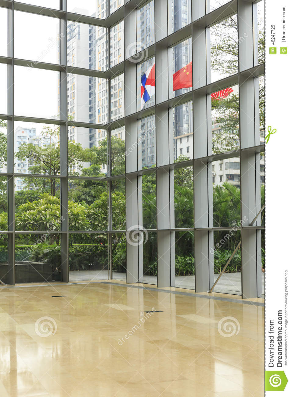 glass wall of modern office building business building interior inside commercial building
