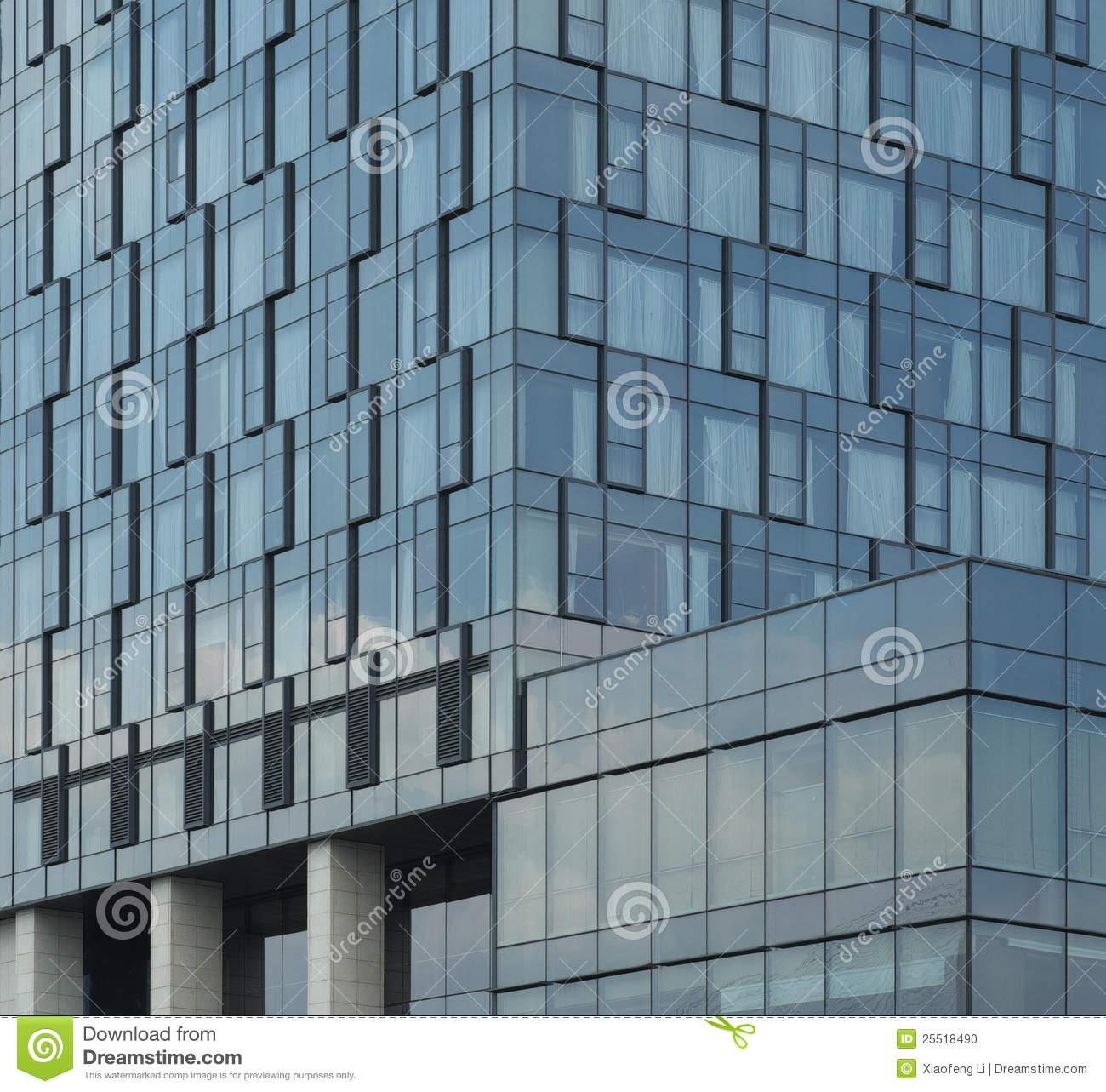 Glass walls of modern hotel architecture stock photo for Exterior glass wall texture