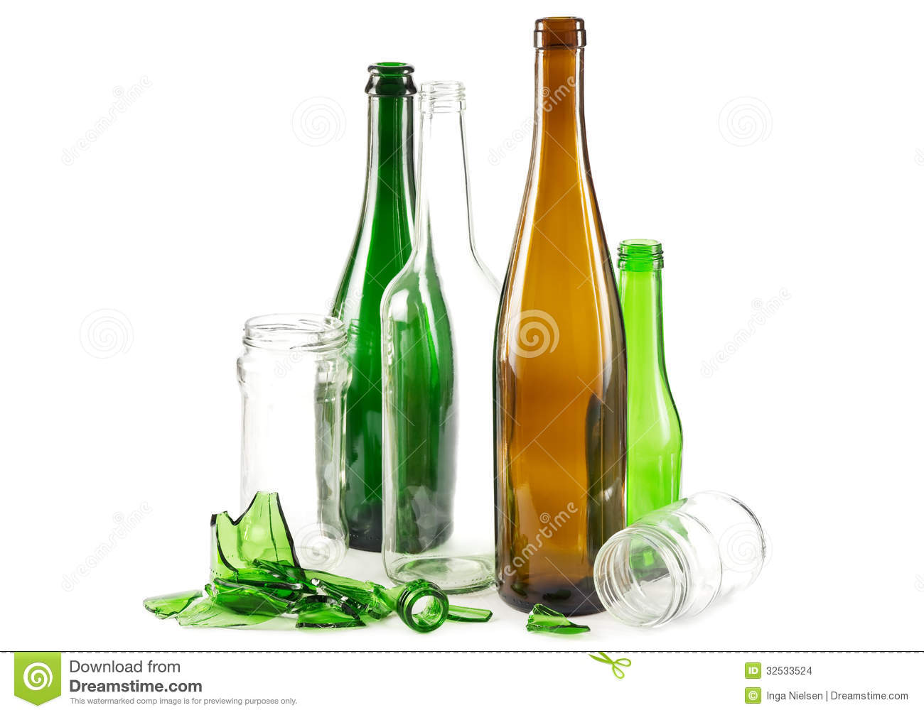 Glass waste with mixed bottles in green white and brown and empty ...