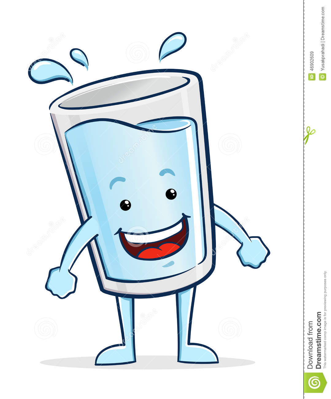 Vector illustration of a glass of water cartoon character.
