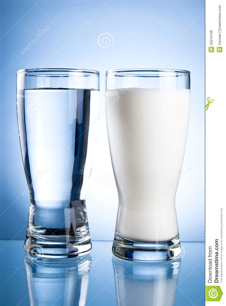 Glass Of Water And Milk On A Blue Royalty Free Stock Image