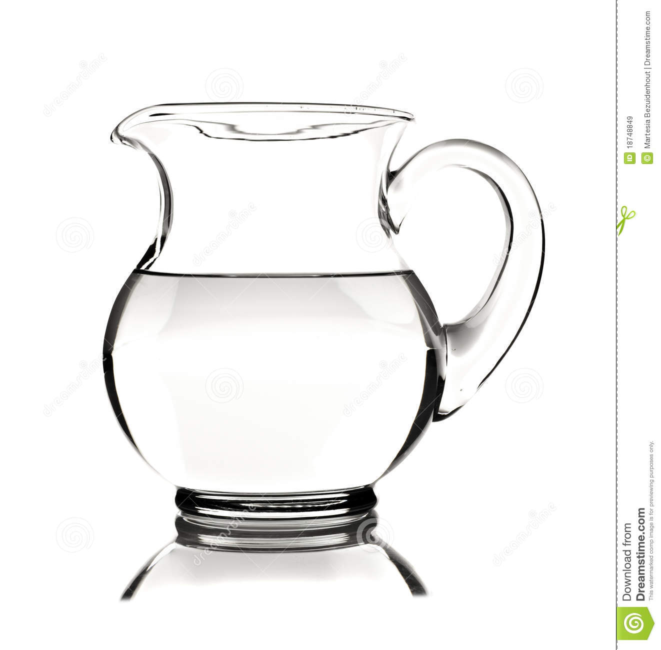 glass water pitcher with water on white background royalty free  - background glass pitcher water