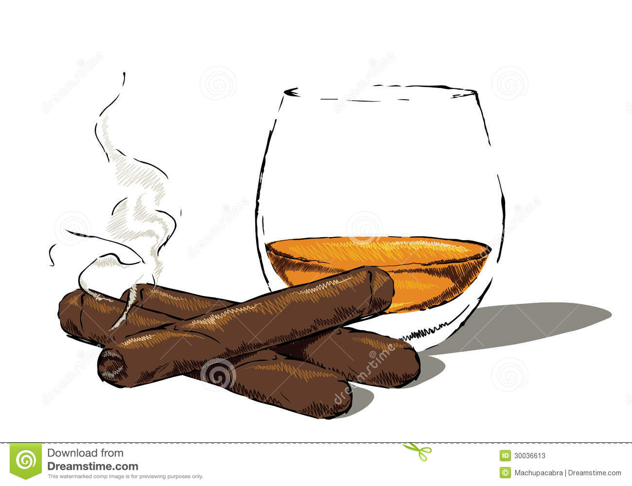 Whiskey glass with a cigar stock vector. Illustration of ...