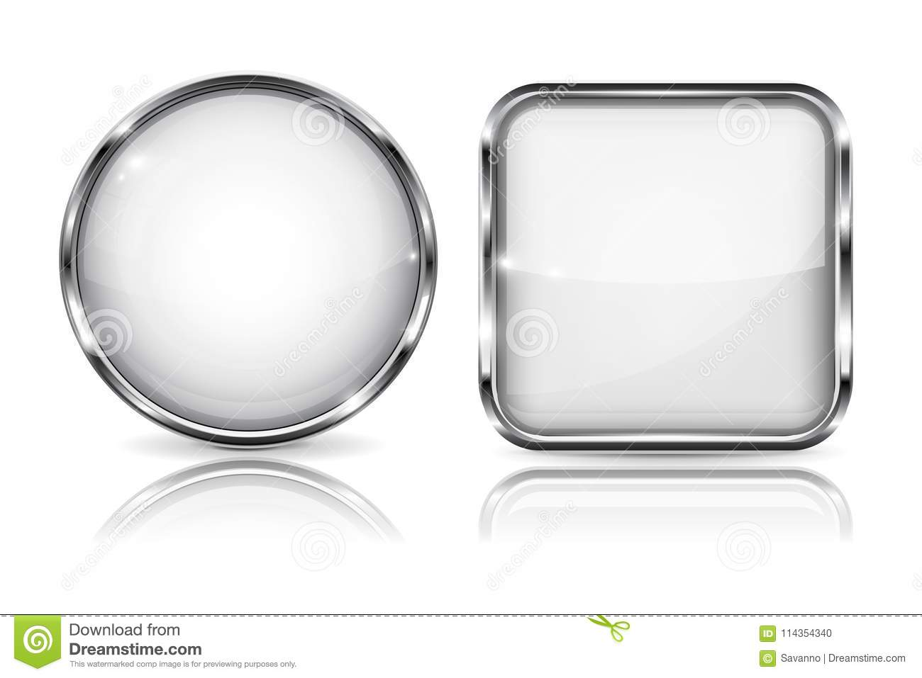 Glass White Buttons. Round And Square 3d Buttons With Metal Frame ...