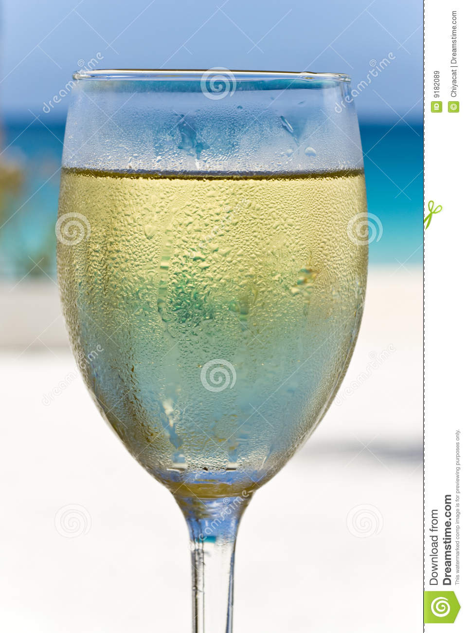 Glass of White Wine on the Beach
