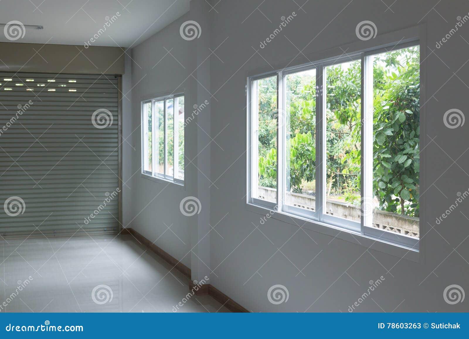 Glass Window Sliding On White Wall Interior