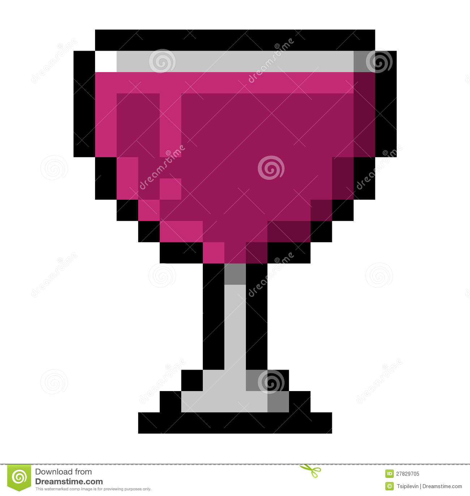 Glass Of Wine Pixel Art Stock Illustration Illustration Of