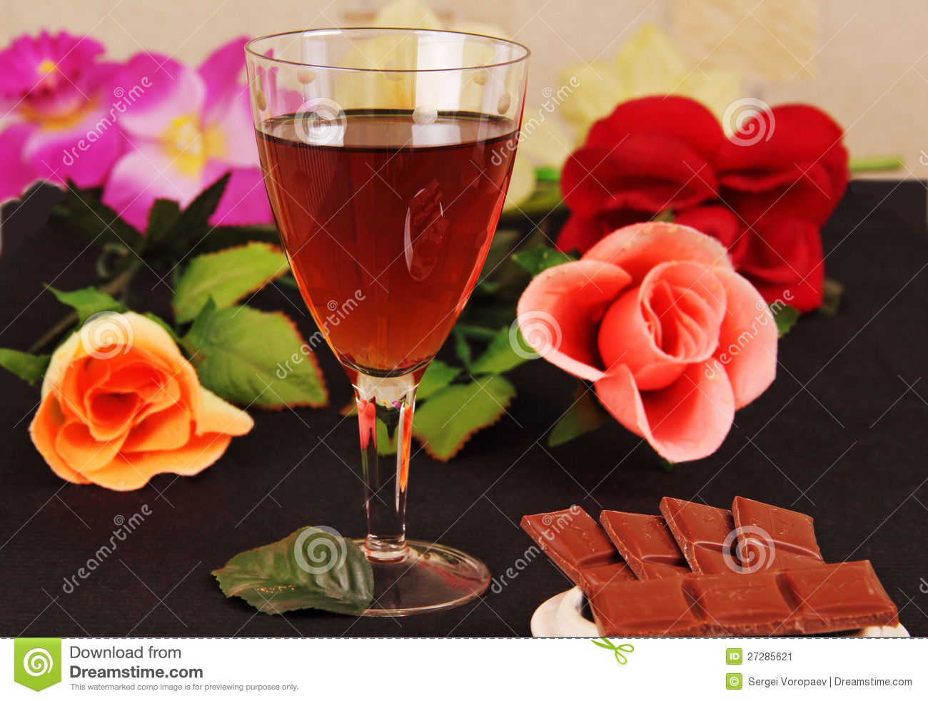 Glass Wine Chocolate And Flowers Stock Image Image
