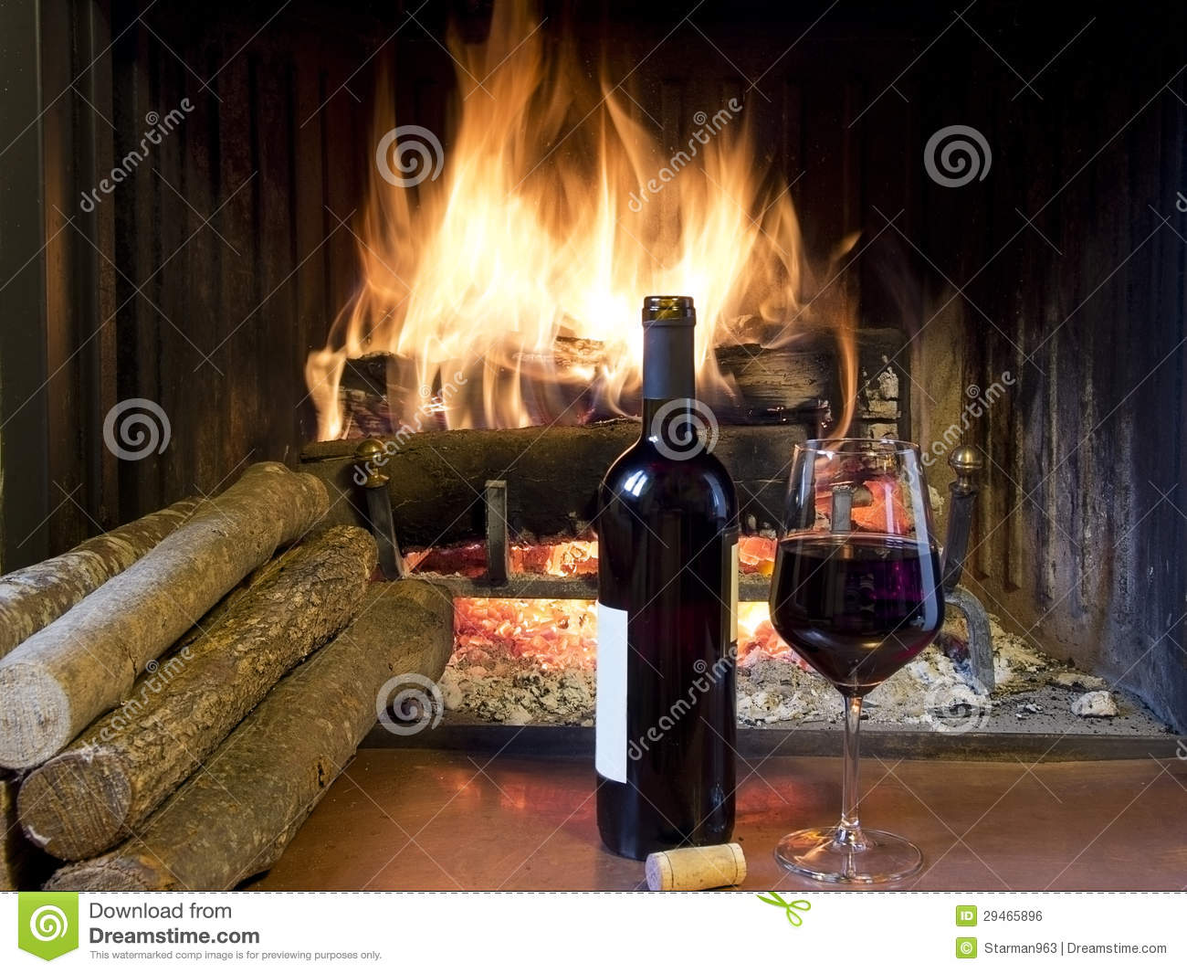 A Glass Of Wine In Front Of A Fireplace Royalty Free Stock Image ...