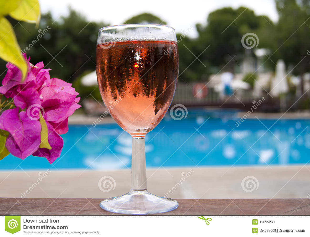 The Glass Of Wine Near Swimming Pool Stock Photo Image Of Pink Drink 19095260