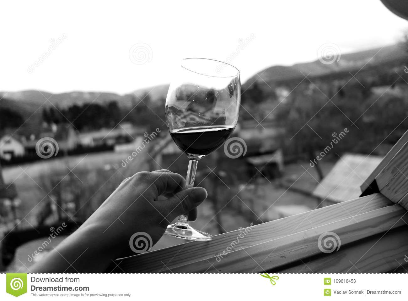 A Glass Of Wine And View On Nature In Countryside Stock Image ...