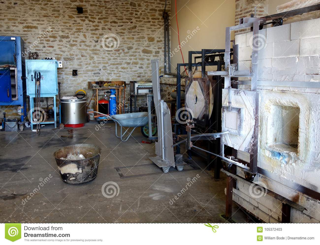 Glassblowing Studio With Crucible In France Stock Image