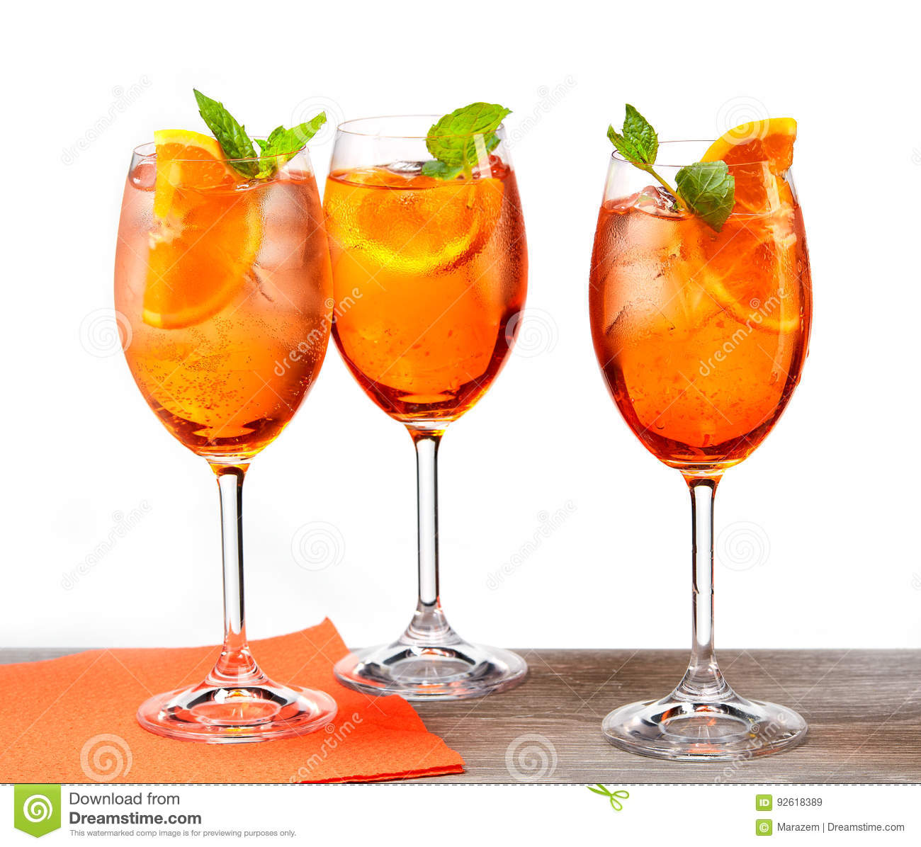 Glasses Of Aperol Spritz Cocktail Stock Image