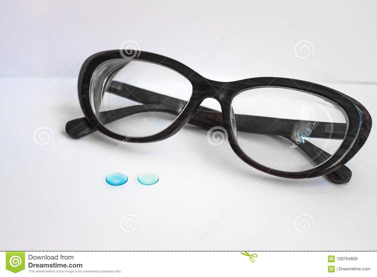 Glasses In A Black Frame And Lenses For The Eyes. Stock Image ...