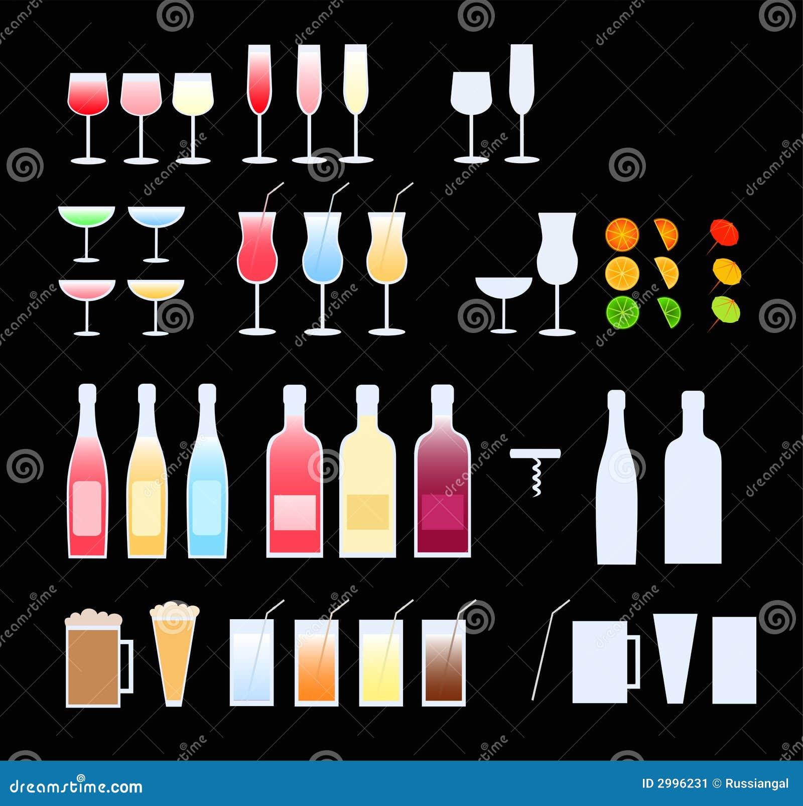 Glasses, bottles