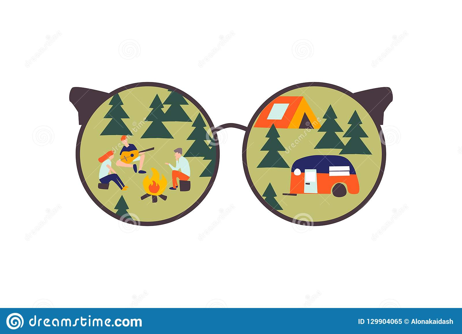 Through glasses.Campaign with tents in the forest.