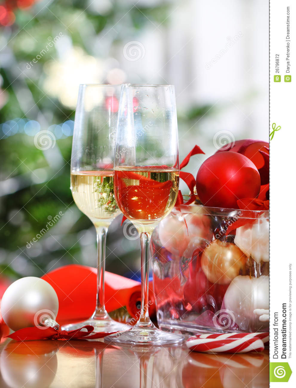 Glasses Of Champagne And Christmas Decorations Stock