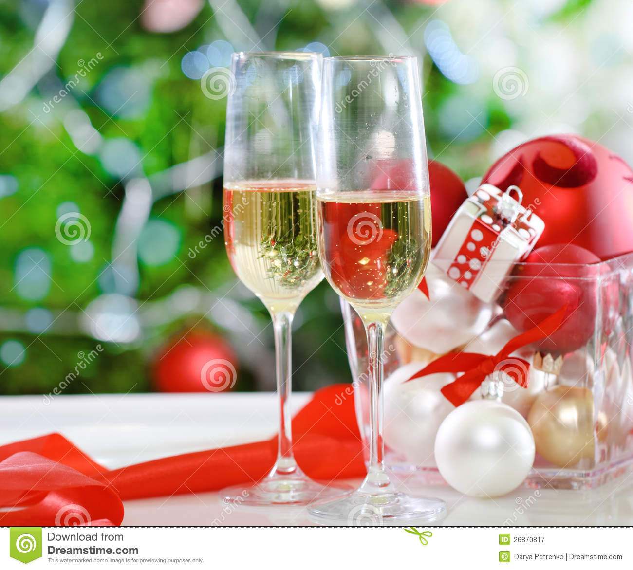 glasses of champagne and christmas decorations royalty free stock photography image 26870817. Black Bedroom Furniture Sets. Home Design Ideas
