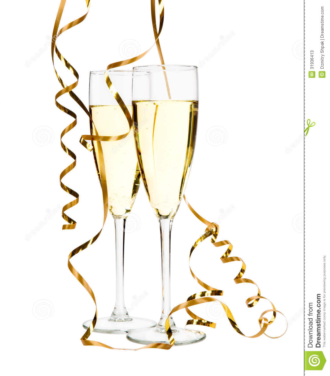 Gold Champagne Glass Clipart glasses of champagne with gold ribbon ...