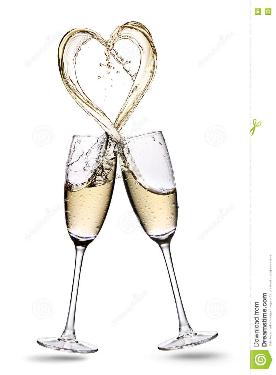 cfa2b86f7b23 Glasses of champagne with heart shape splash isolated on a white background